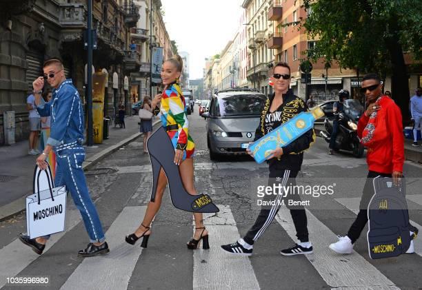 River Viiperi, Jasmine Sanders aka Golden Barbie, Jeremy Scott and WizKid stop traffic launching the CIROC x Moschino collaboration during Milan...