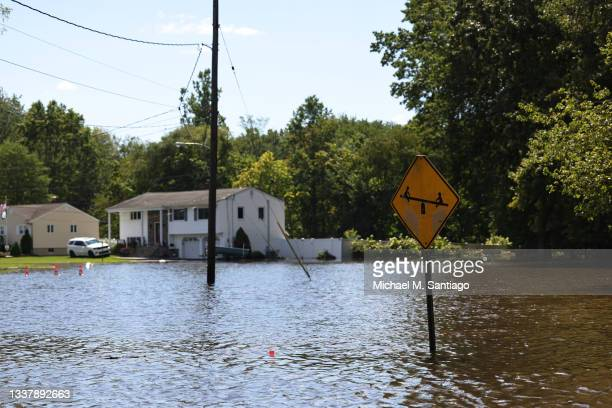 River water floods West Williams Street on September 02, 2021 in Lincoln Park, New Jersey. NJ Gov. Phil Murphy declared a state of emergency as...