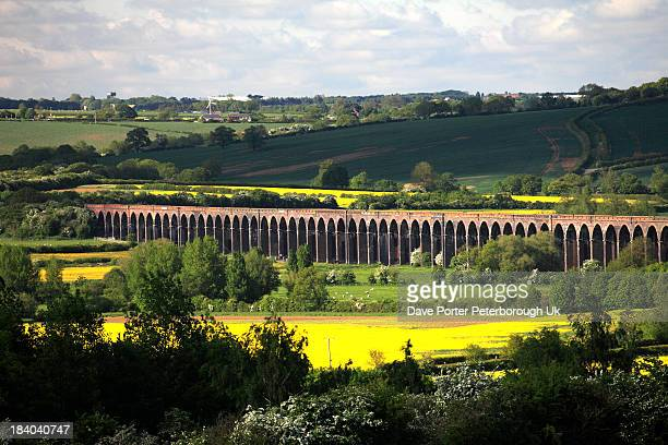 river welland valley, harringworth railway viaduct - northamptonshire stock photos and pictures