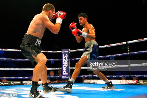 River WilsonBent punches Zygimantas Butkevicius during the Middleweight Contest between River WilsonBent and Zygimantas Butkevicius at Arena...