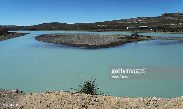 A river with glacial runoff flows outside Los Glaciares National Park near the Southern Patagonian Ice Field on December 1 2015 in Santa Cruz...