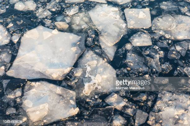 river with ice floes and sunlight - makarinus stock photos and pictures