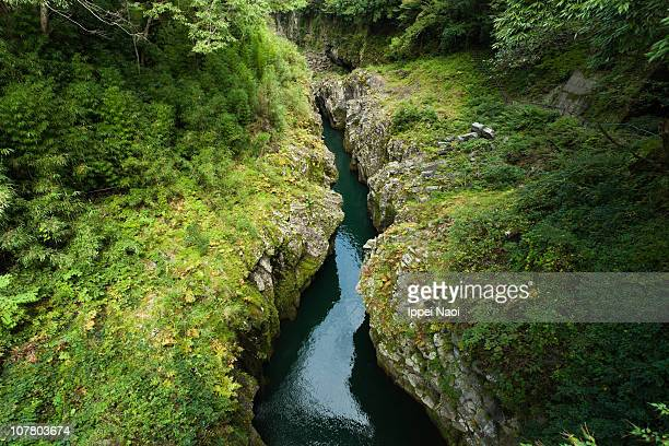 River within a lush volcanic gorge, Japan