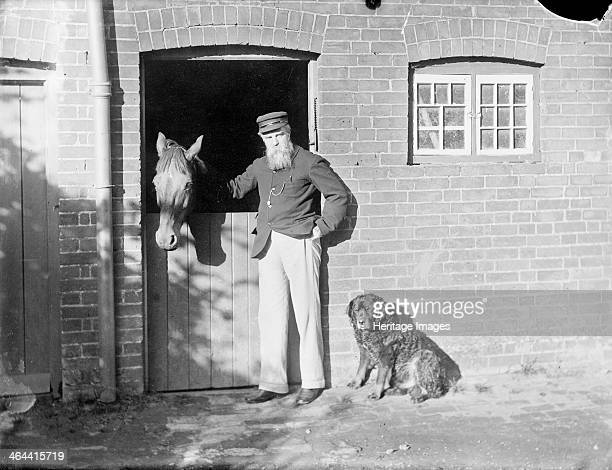 Rivera Cowley Road Cowley Oxford Oxfordshire 1910 Henry Taunt with his horse and dog outside the stable at his house in Cowley which he leased and...
