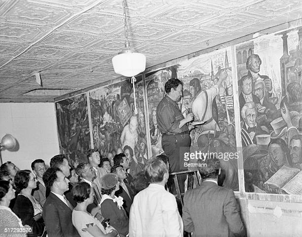 Rivera Demonstrates at New Workers Art School Diego Rivera noted painter whose frescoes were banned from Rockefeller Center because of the...