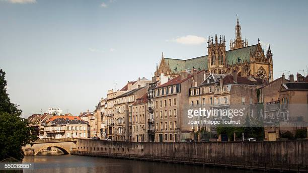 Riverbank and cathedral in Metz, France