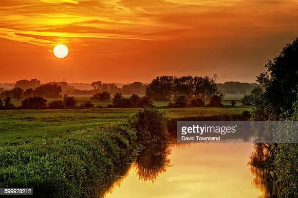 Riverbank sunset