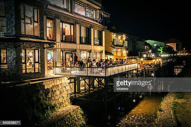 Riverbed Style Cuisine along Kamo River at Night
