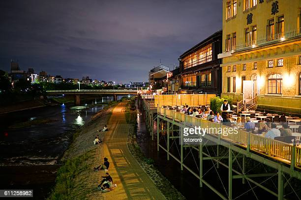 Riverbed Style Cuisine (川床,納涼床) at Night along Kamo River (鴨川) in Kyoto Japan
