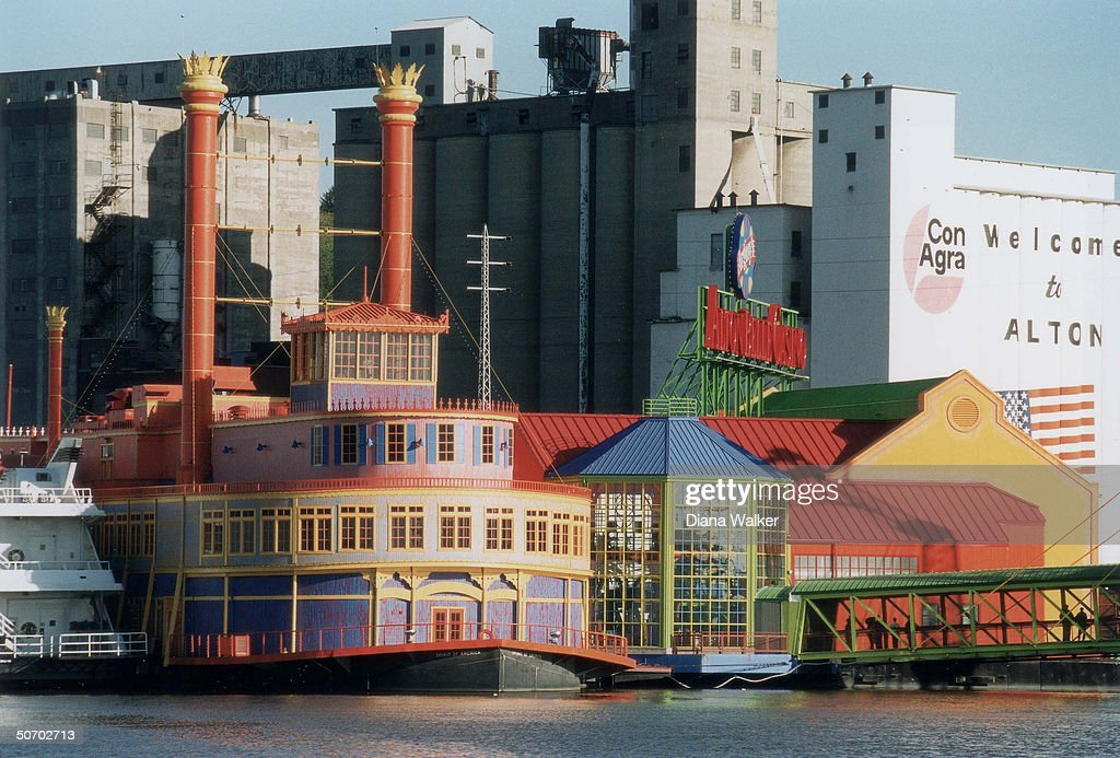 Riverboat casino in waterfront scene fro : News Photo