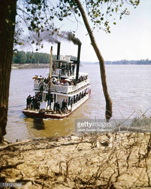 A riverboat scene on the Ohio River in Kentucky in the MGM western epic 'How the West Was Won' 1962 Actor George Peppard as Zeb Rawlings is visible...