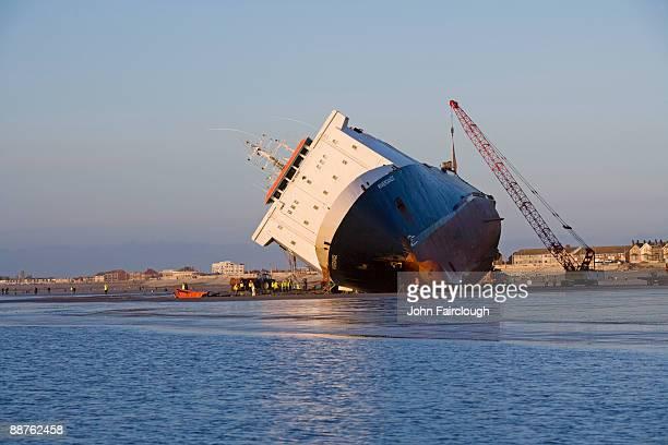 Riverdance ferry run aground, Blackpool, England