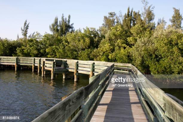 Riverfront Round Island Park wooden walkway