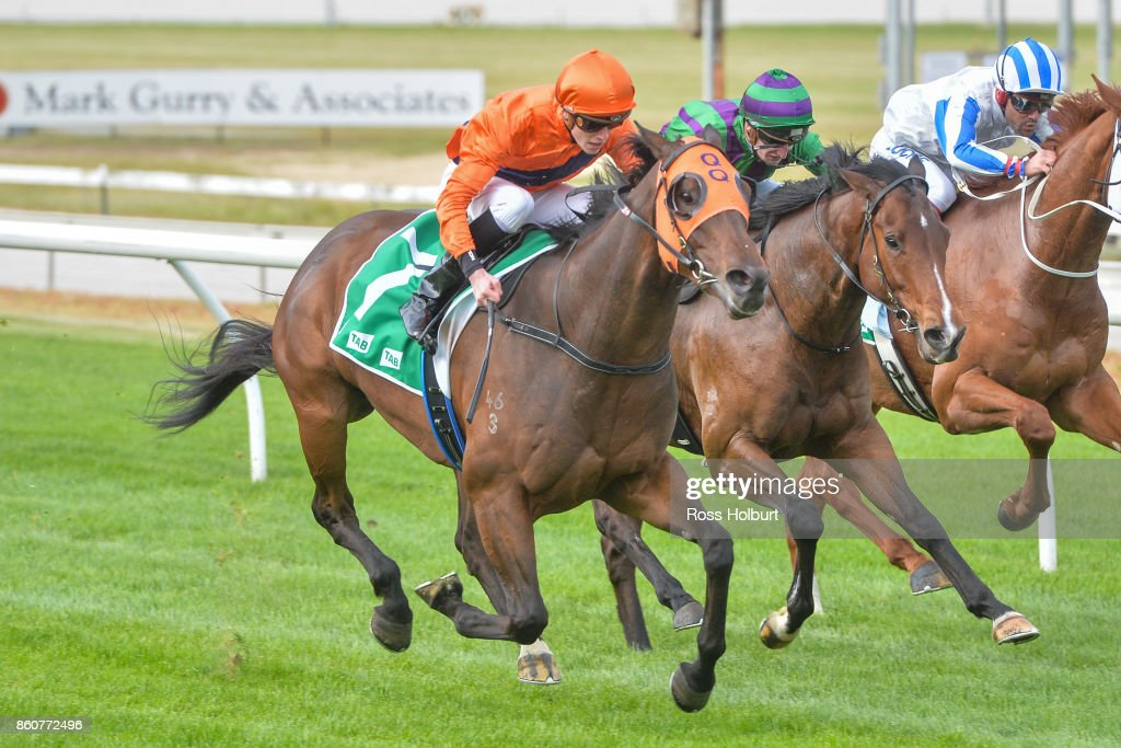 Riverina Explorer ridden by Ben Allen wins the Highview Accounting & Financial Maiden Plate at Cranbourne Racecourse on October 13, 2017 in Cranbourne, Australia.