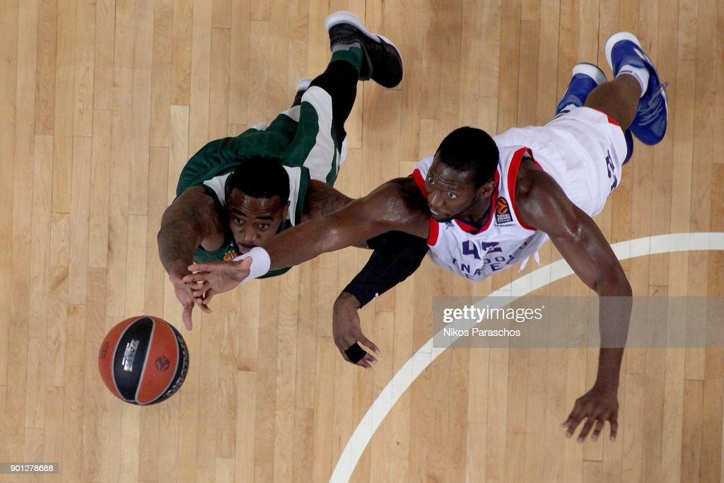 K. C. Rivers, #3 of Panathinaikos Superfoods Athens competes with Bryant Dunston, #42 of Anadolu Efes Istanbul during the 2017/2018 Turkish Airlines EuroLeague Regular Season Round 16 game between Panathinaikos Superfoods Athens and Anadolu Efes Istanbul at Olympic Sports Center Athens on January 4, 2018 in Athens, Greece.