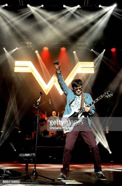 Rivers Cuomo and Patrick Wilson of Weezer perform live on stage at O2 Apollo Manchester on October 25 2017 in Manchester England