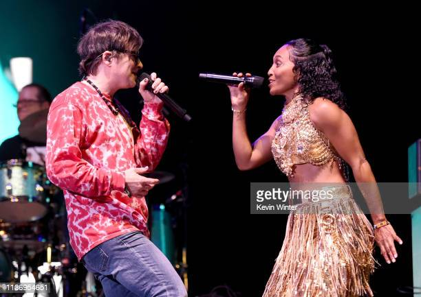 Rivers Cuomo of Weezer and Rozonda Chilli Thomas of TLC perform at Coachella Stage during the 2019 Coachella Valley Music And Arts Festival on April...