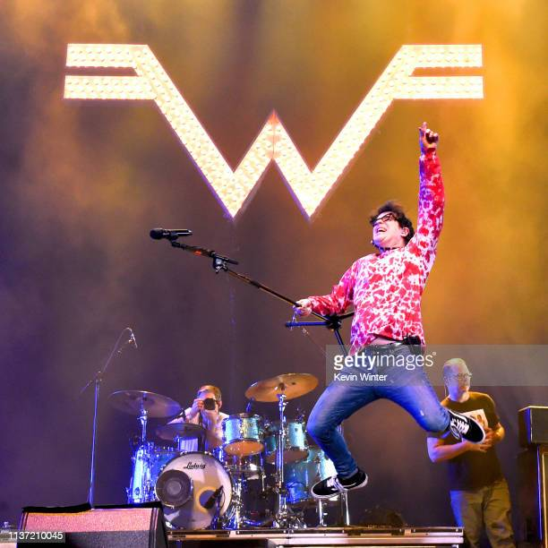 Rivers Cuomo of Weezer performs at Coachella Stage during the 2019 Coachella Valley Music And Arts Festival on April 13 2019 in Indio California
