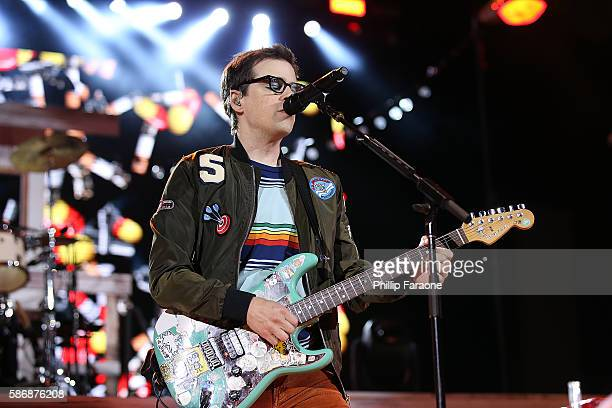 Rivers Cuomo of Weezer performs at Irvine Meadows Amphitheatre on August 6 2016 in Irvine California