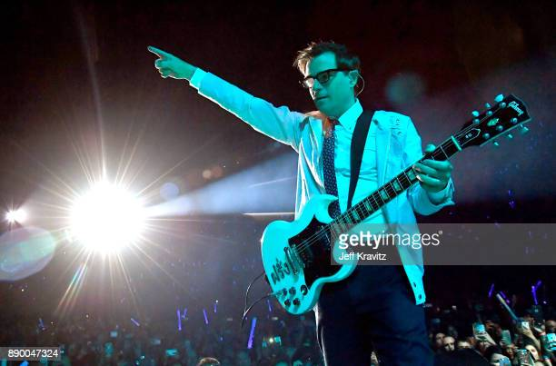 Rivers Cuomo of Weezer performs at the KROQ Almost Acoustic Christmas 2017 Night 1 on December 10 2017 at the Forum in Los Angeles CA