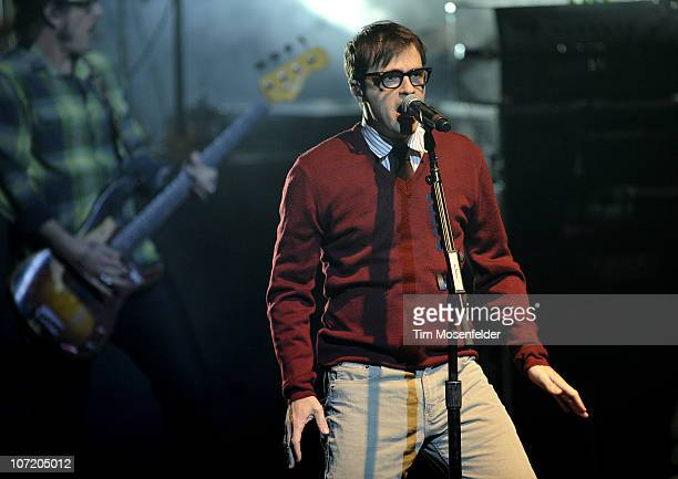 Rivers Cuomo of Weezer performs in support of the Band's Hurley release at the Nob Hill Masonic Auditorium on November 29, 2010 in San Francisco,...