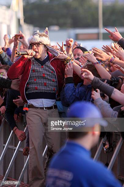 Rivers Cuomo of Weezer performs live on the Main stage during the third and final day of Reading Festival on August 29 2010 in Reading England