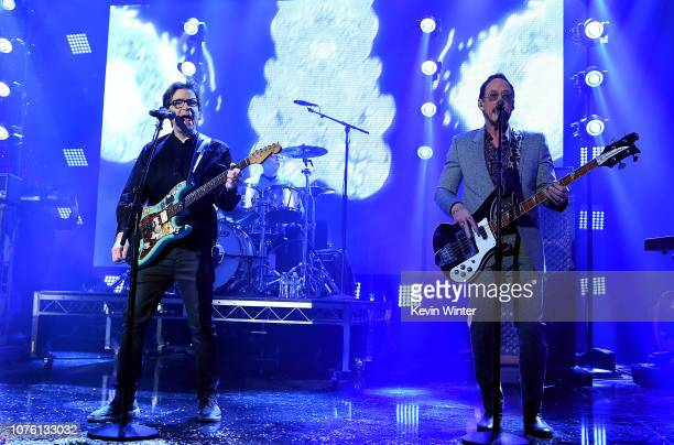 Rivers Cuomo Patrick Wilson and Scott Shriner of Weezer perform onstage during Dick Clark's New Year's Rockin' Eve With Ryan Seacrest 2019 on...