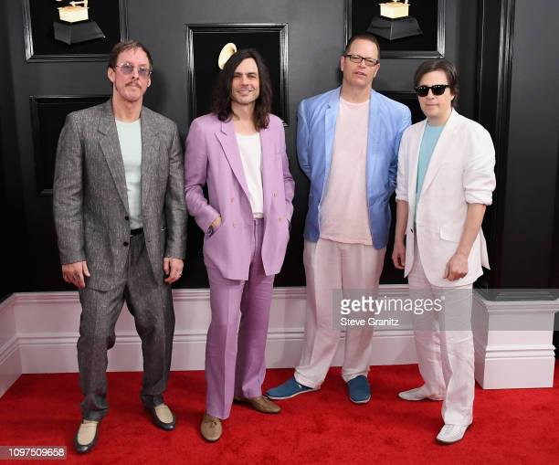 Rivers Cuomo Patrick Wilson Brian Bell and Scott Shriner of US rock band Weezer attend the 61st Annual GRAMMY Awards at Staples Center on February 10...