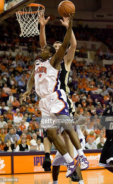 C Rivers of the Clemson Tigers goes up for a layup against Chas McFarland of the Wake Forest Deamon Deacons January 22 2008 at Littlejohn Coliseum in...
