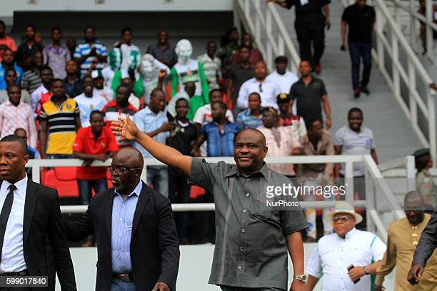 Rivers State Governor Nyesom Ezenwo Wike wave at the Eagles supporter at the at Adokie Amiesiemaka Stadium in Port Harcourt Nigeria 17 NOV 2015