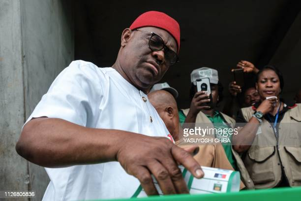 Rivers state's Governor Ezenwo Nyesom Wike casts his ballot as voting in the presidential and parliamentary elections on February 23 at a polling...