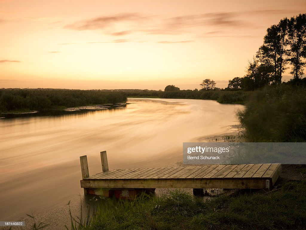 Riverscape In Evening Mood : Stock Photo