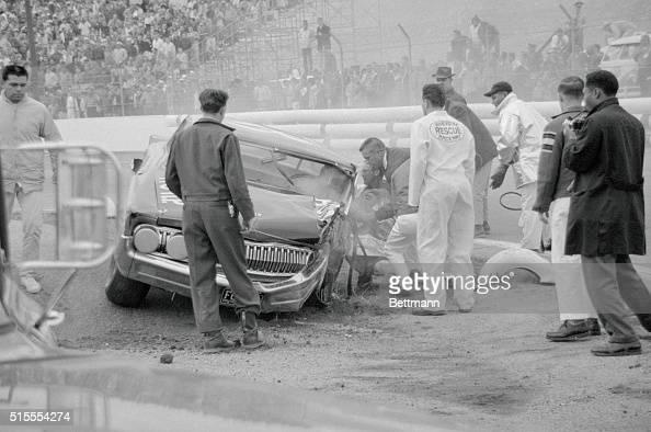 joe weatherly u0026 39 s marc bounces off the crash wall in turn