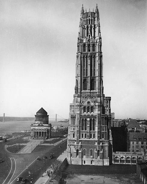 Riverside Church towers over Riverside Drive on the...