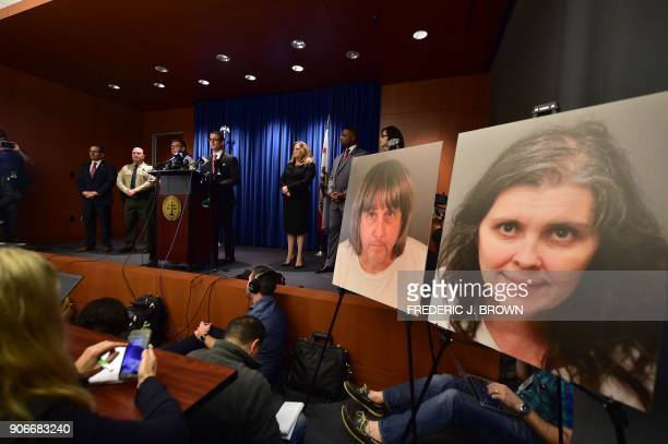 TOPSHOT Riverside County District Attorney Michael Hestrin speaks during a press conference in Riverside California on a California couple who held...