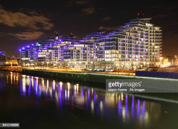 A riverside development by St George PLC on the banks of the Thames next to Wandsworth Bridge The brownfield site was home to a Gin Distillery Oil...