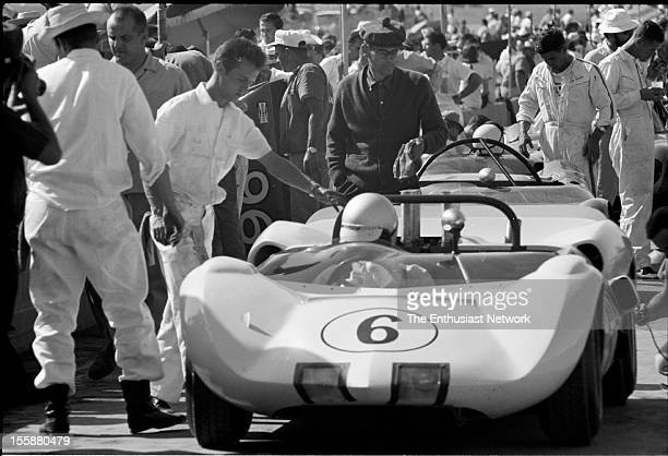 Riverside Grand Prix Roger Penske sits in his Chaparral 2A in the pits