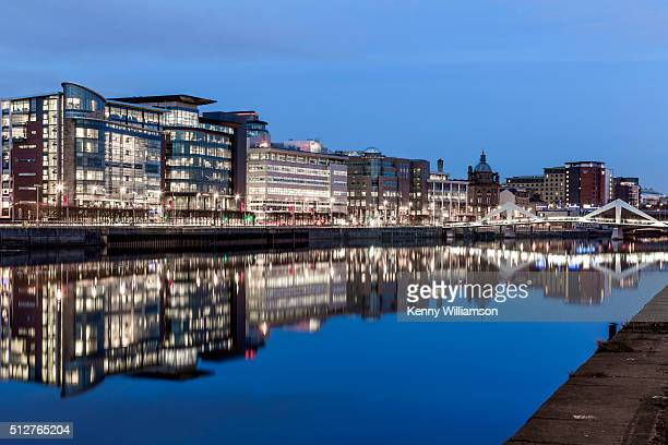 riverside offices in a city at dusk - glasgow stock pictures, royalty-free photos & images
