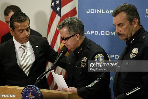 Riverside Police Chief Sergio Diaz leaves the podium during a press conference at the Police Administration Building in downtown Los Angeles on...