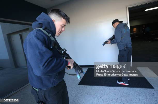 Riverside Police Department officers S Macias left and H Park prepare to play the roles of shooting suspects in a training exercise at Bourns in...