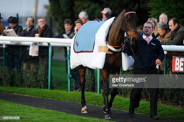 Riverside Theatre wears a duvet like blanket as it parades at Huntingdon racecourse on December 12 2013 in Huntingdon England