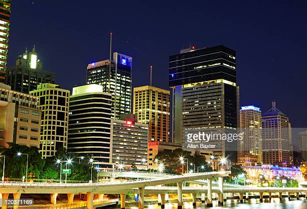 Riverside with skyscrapers at night