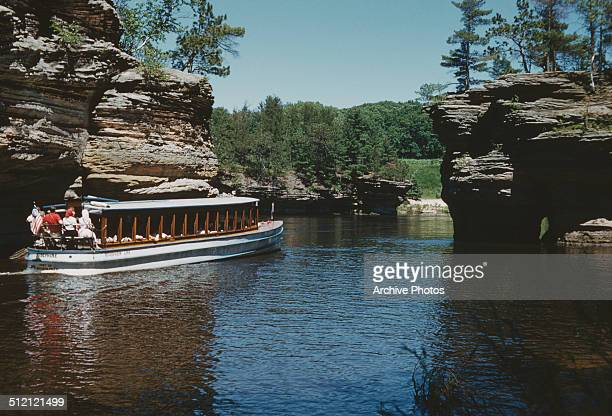 A Riverview Line boat trip on the 'Josephine' through the Lone Rock Lower Dells Wisconsin USA 1960