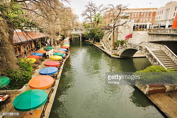 riverwalk downtown tourist and retail  district of san antonio texas - san antonio stock photos and pictures