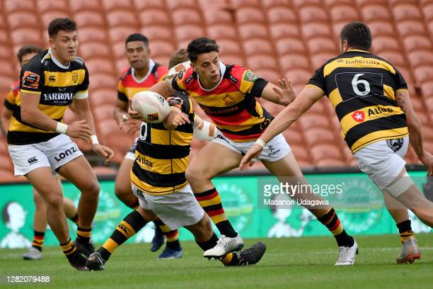 Rivez Reihana of Waikato is tackled during the round 7 Mitre 10 Cup match between Waikato and Taranaki at FMG Stadium on October 25 2020 in Hamilton...