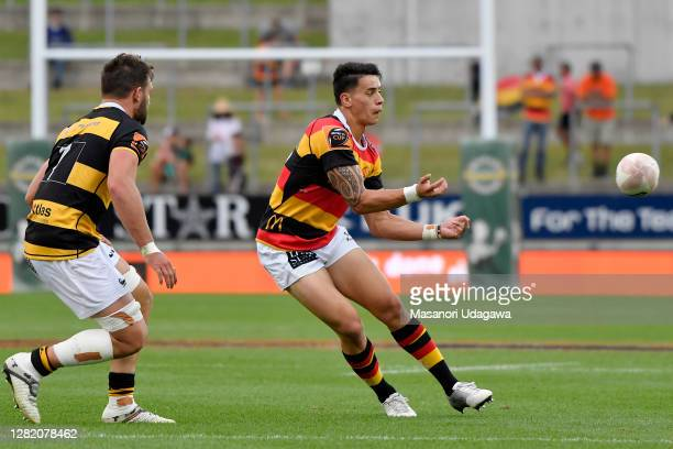 Rivez Reihana of Waikato passes the ball during the round 7 Mitre 10 Cup match between Waikato and Taranaki at FMG Stadium on October 25 2020 in...