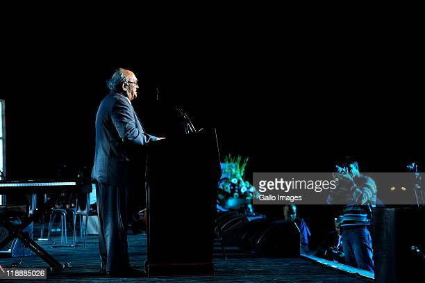 Rivonia trialist Denis Goldberg speaking at a gala event at the Sandton Convention Centre on July 11 2011 in Johannesburg South Africa to honour the...