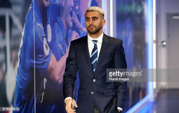 Riyad Mahrez ahead of the FA Cup fifth round match between Leicester City and Sheffield United at King Power Stadium on February 16th 2018 in...