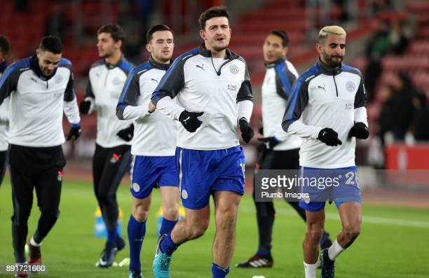 Riyad Mahrez and Harry Maguire of Leicester City warm up at St Mary's Stadium ahead of the Premier League match between Southampton and Leicester...