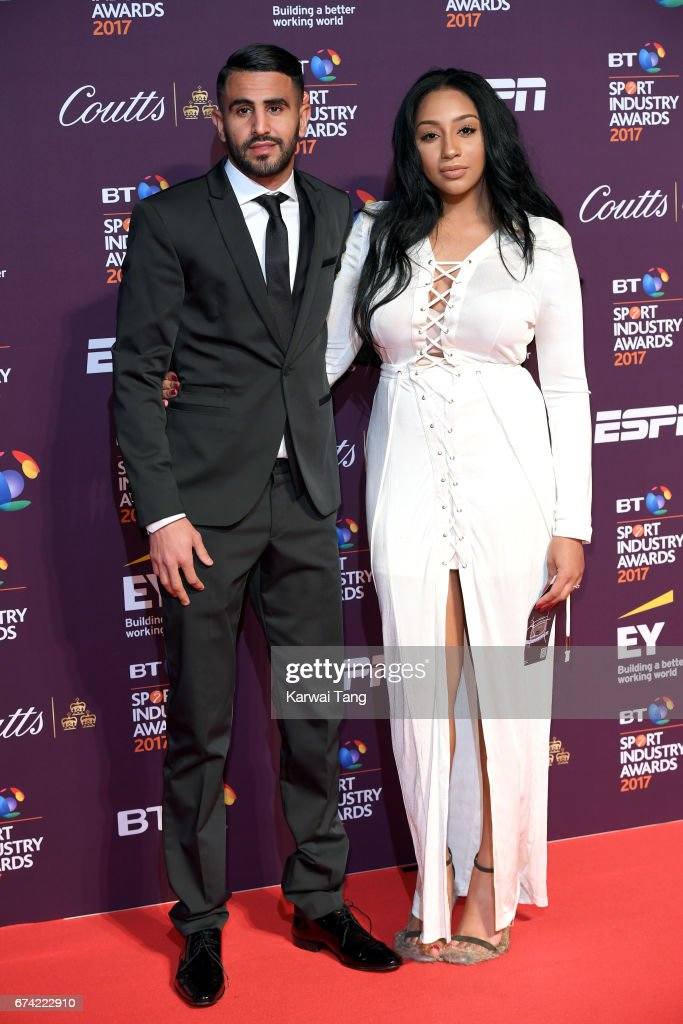 Riyad Mahrez and Rita Johal attend the BT Sport Industry Awards at Battersea Evolution on April 27, 2017 in London, England.